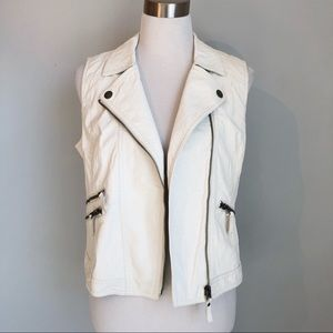 Aeropostale White Faux Leather Moto Vest NWT, L
